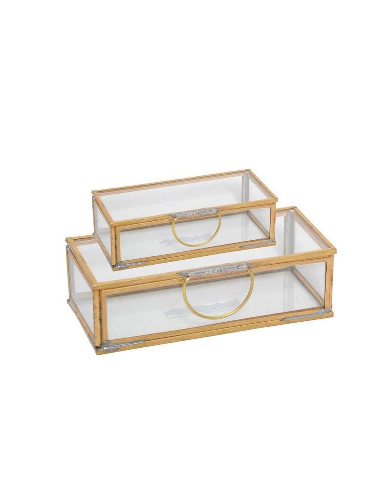 BIDK Home Brass &amp; Glass Rectangular Box, Small<br /> Lg. Alum. Leaf Dish Antique Nickel