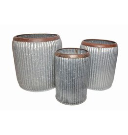 BIDK Home Set of 3 Ribbed Pots