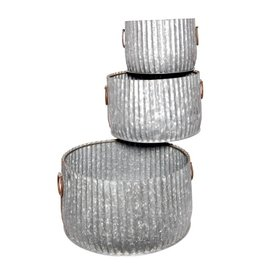 BIDK Home Set of 3 Galvanized Planters <br /> Planters <br /> Set of 3 Galvanized<br /> Planters