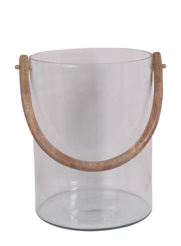 Lg. Glass Bucket W/ Wood Handle