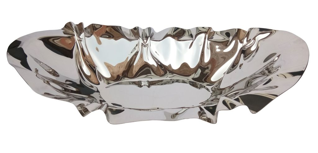 Polished Stainless Steel Oval Bowl<br /> Planters