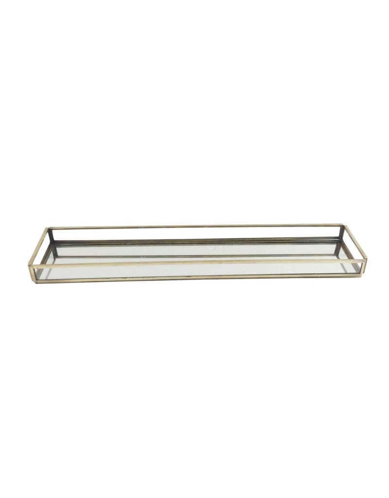 BIDK Home Large Brass & Glass Rectangular Tray