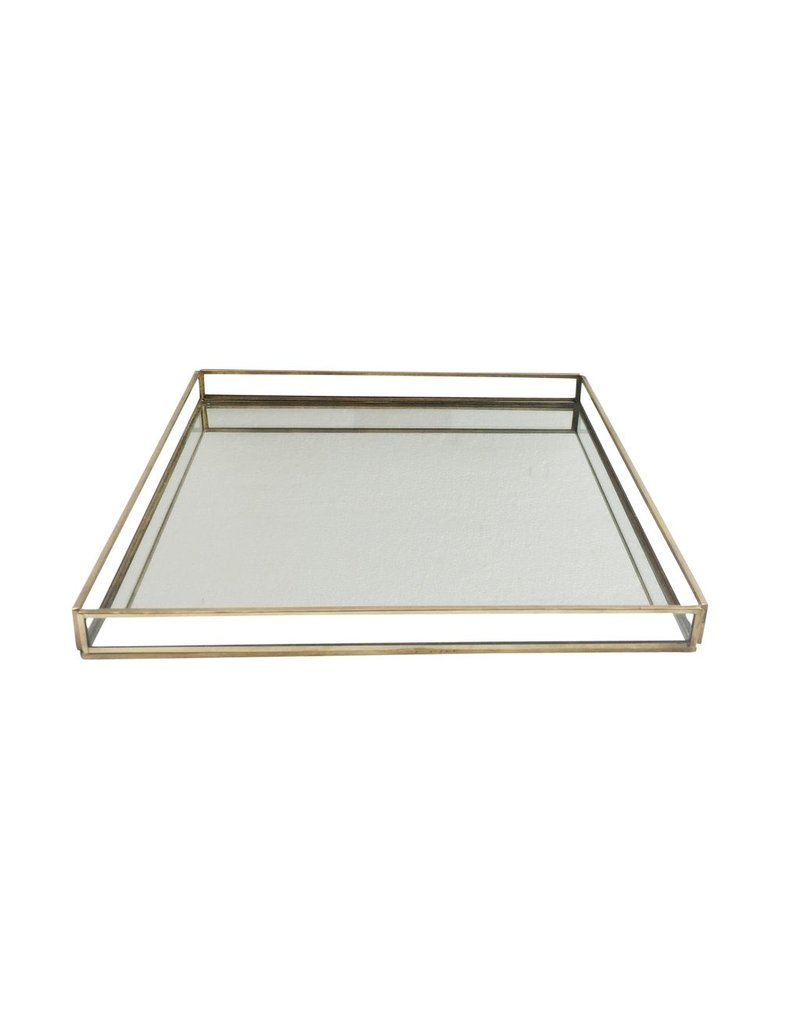BIDK Home X-Large Brass & Glass Square Tray