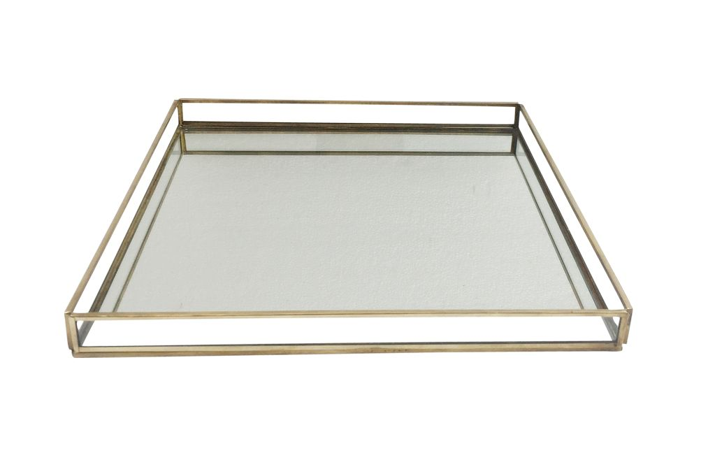 X-Large Brass & Glass Square Tray
