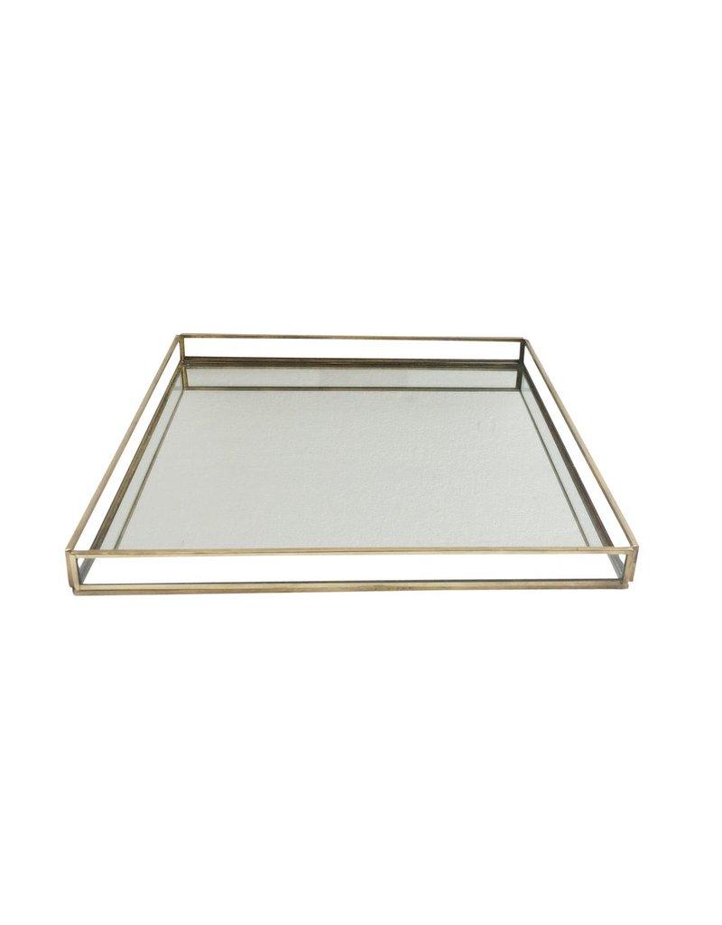 BIDK Home Large Brass & Glass Square Tray