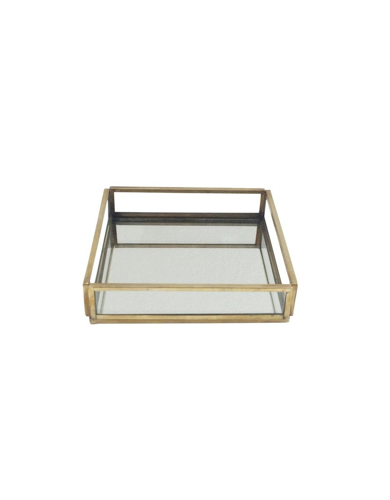 BIDK Home Small Glass and Brass Square Tray