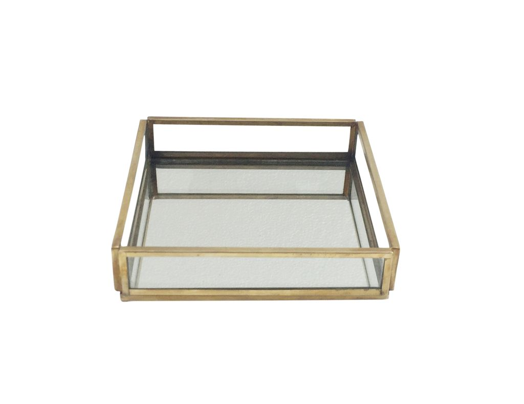 Small Glass and Brass Square Tray