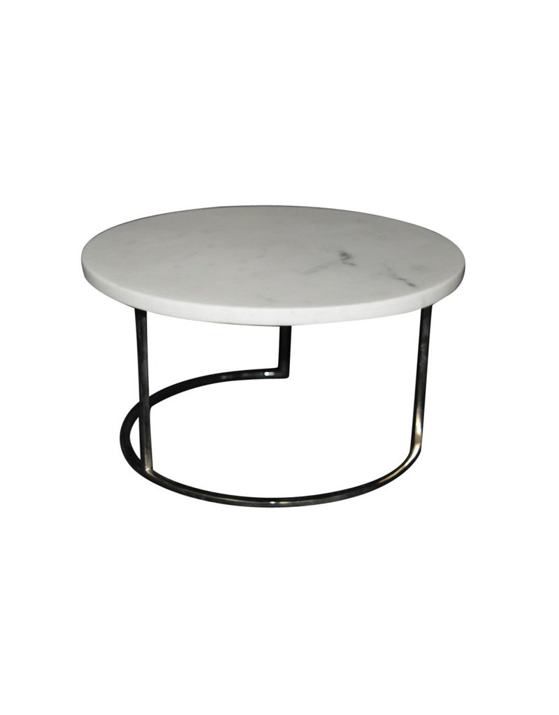 bidk home marble round cake plate with metal stand nickel finish white
