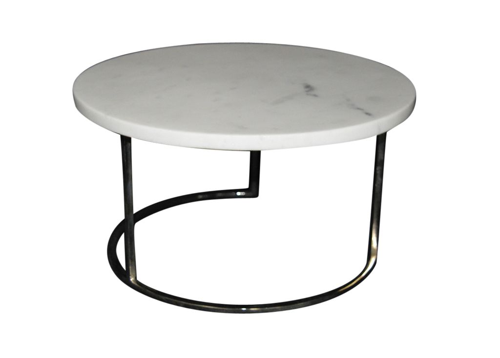 Marble Round Cake Plate with Metal Stand (Nickel Finish) White