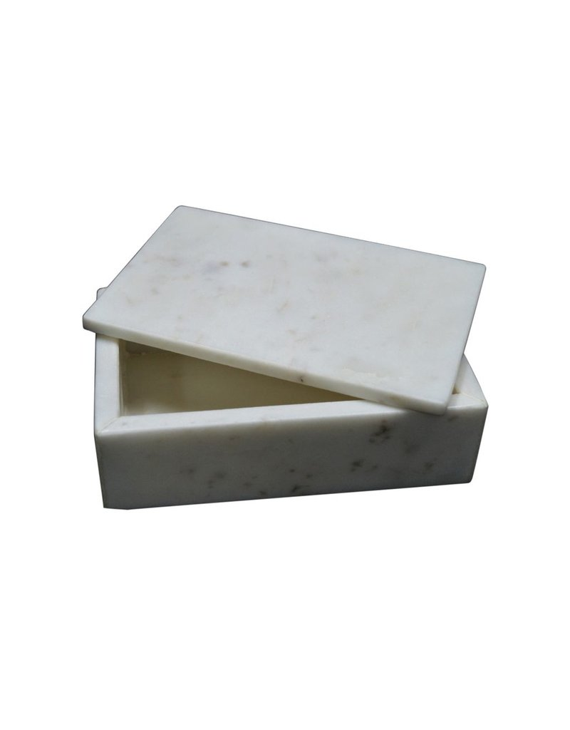 BIDK Home Marble Rectangle Box - White