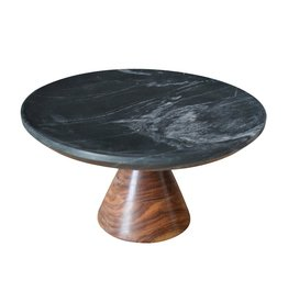 Small Marble Cake Plate with Wood Base - Black