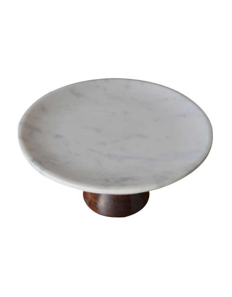BIDK Home Large Marble Cake Plate with Wood Base - White
