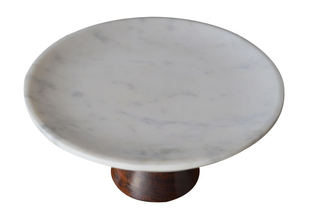 Large Marble Cake Plate with Wood Base - White