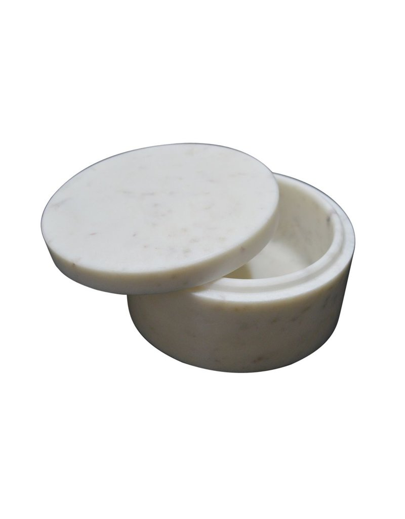 BIDK Home Marble Round Box - White
