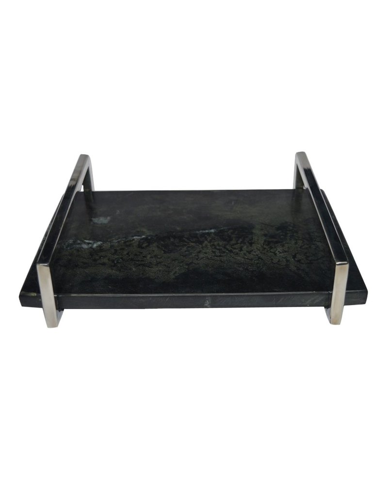 BIDK Home Small Marble Tray with Nickel Handle - Black