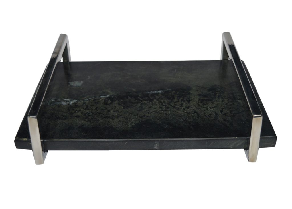 Small Marble Tray with Nickel Handle - Black