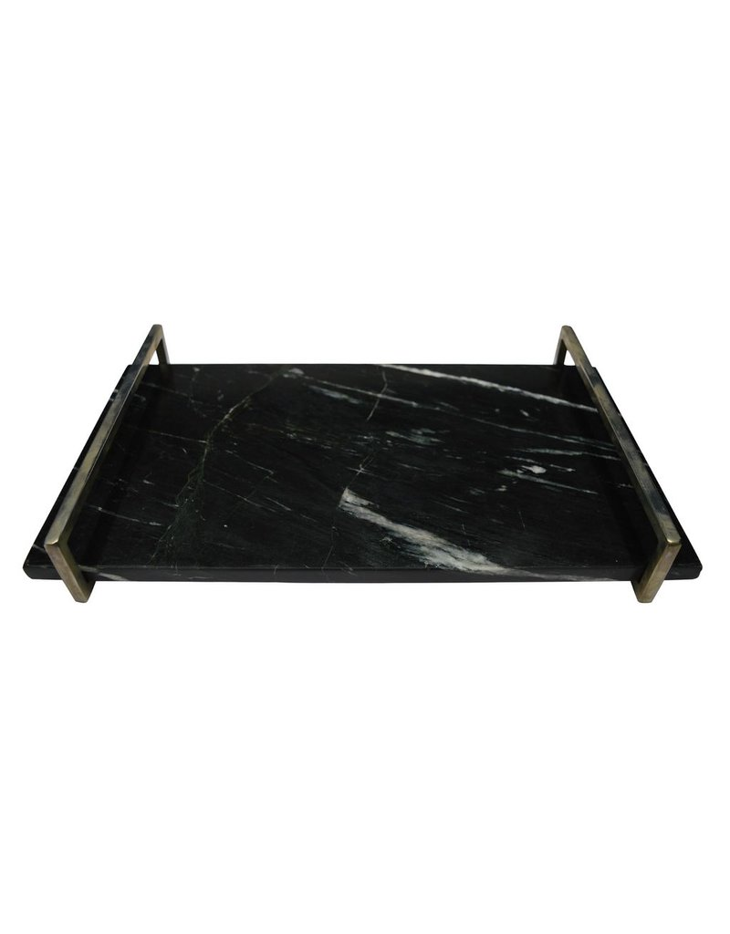 BIDK Home Large Marble Tray with Nickel Handle - Black