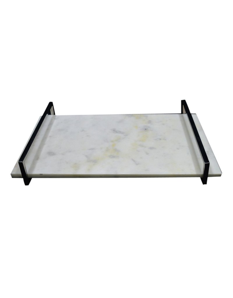 BIDK Home Large Marble Tray with Nickel Handle - White