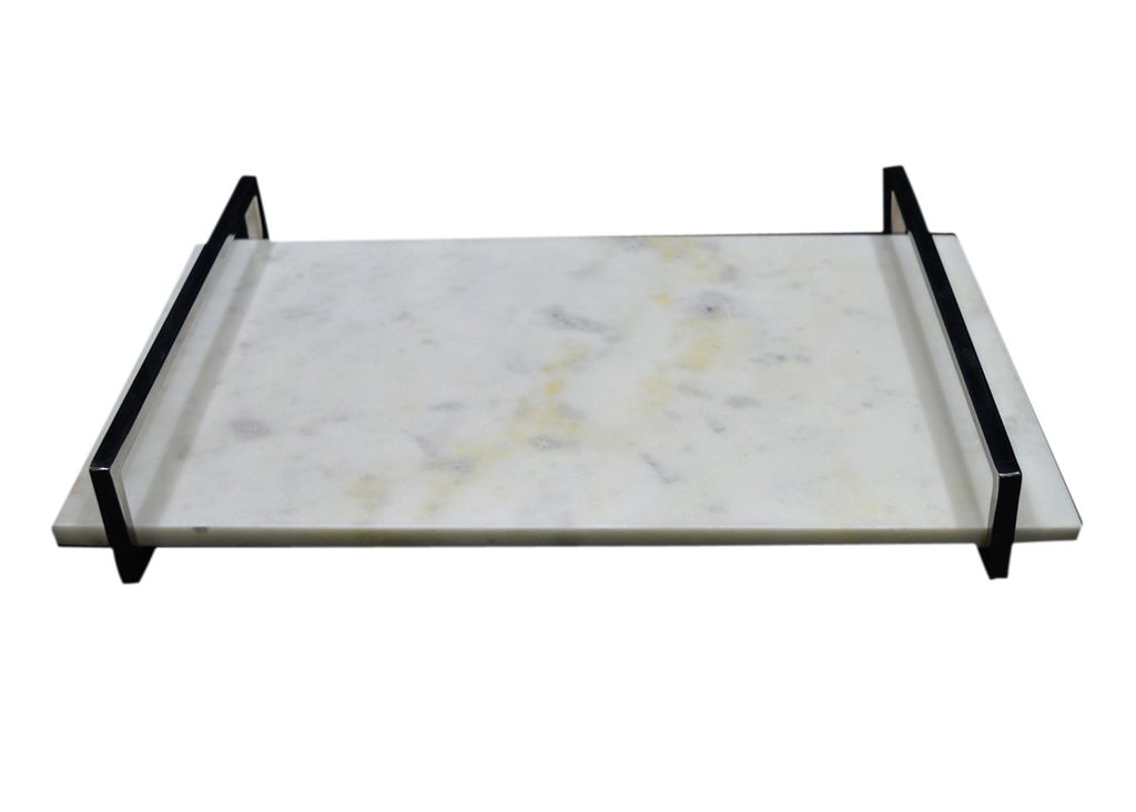 Large Marble Tray with Nickel Handle - White