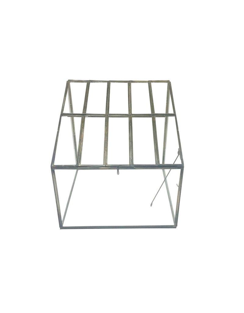 BIDK Home Brass & Glass Open-Lid Greenhouse Terrarium