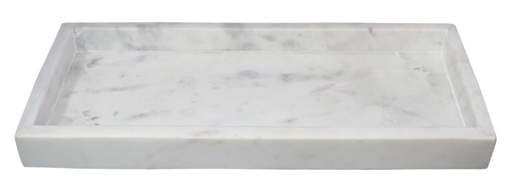 Small Rectangular Marble Tray High Wall Agra White