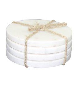 BIDK Home Set Of 4 Marble Round Coasters