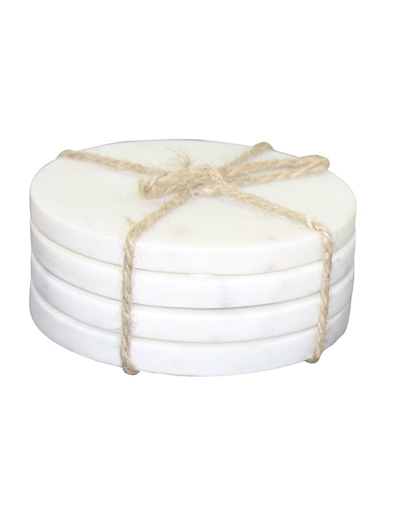BIDK Home Set Of 4 Marble Round Coasters