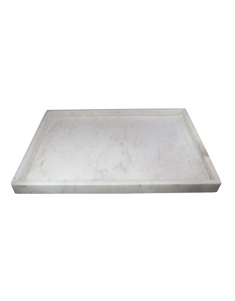 BIDK Home Large Marble Tray High Wall Agra White