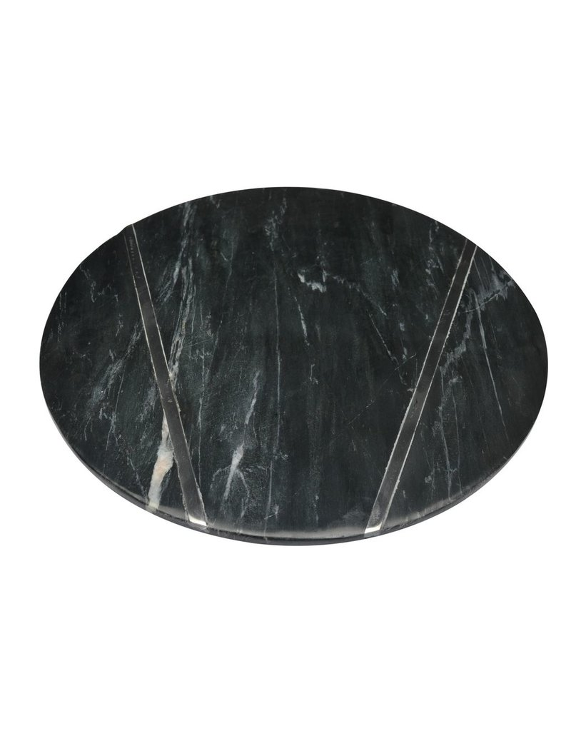BIDK Home Black Small Marble Plate With Chrome Inlay