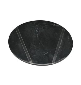 BIDK Home Black Medium Marble Plate With Chrome Inlay