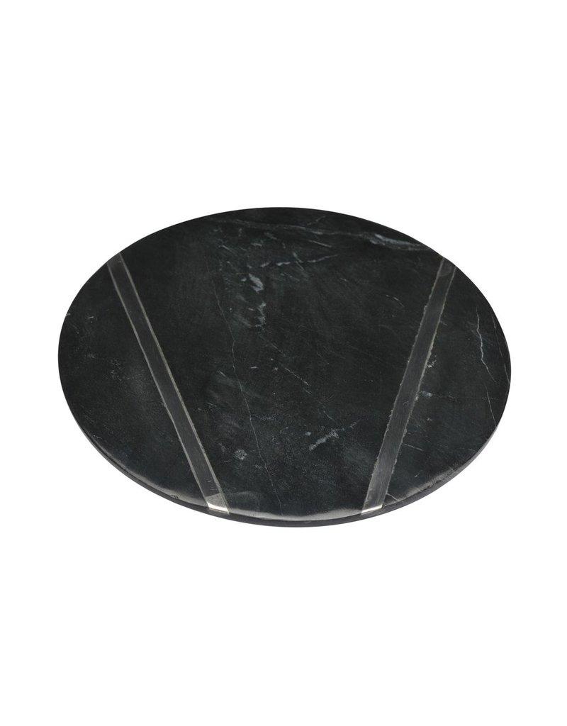 BIDK Home Black Medium Marble Plate With Chrome Inlay