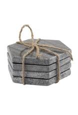 BIDK Home Set of 4 Marble Hex Coasters - Black