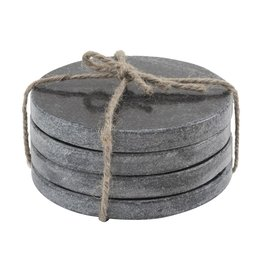 Set of 4 Marble Round Coasters - Black