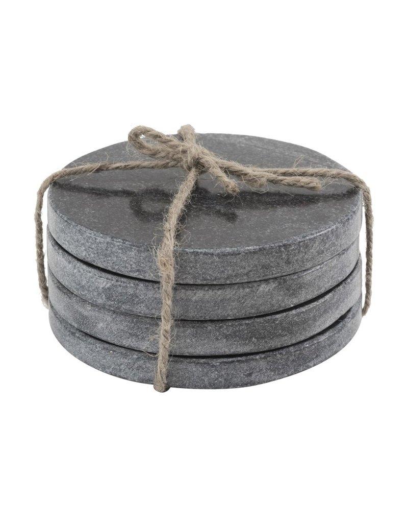 BIDK Home Set of 4 Marble Round Coasters - Black
