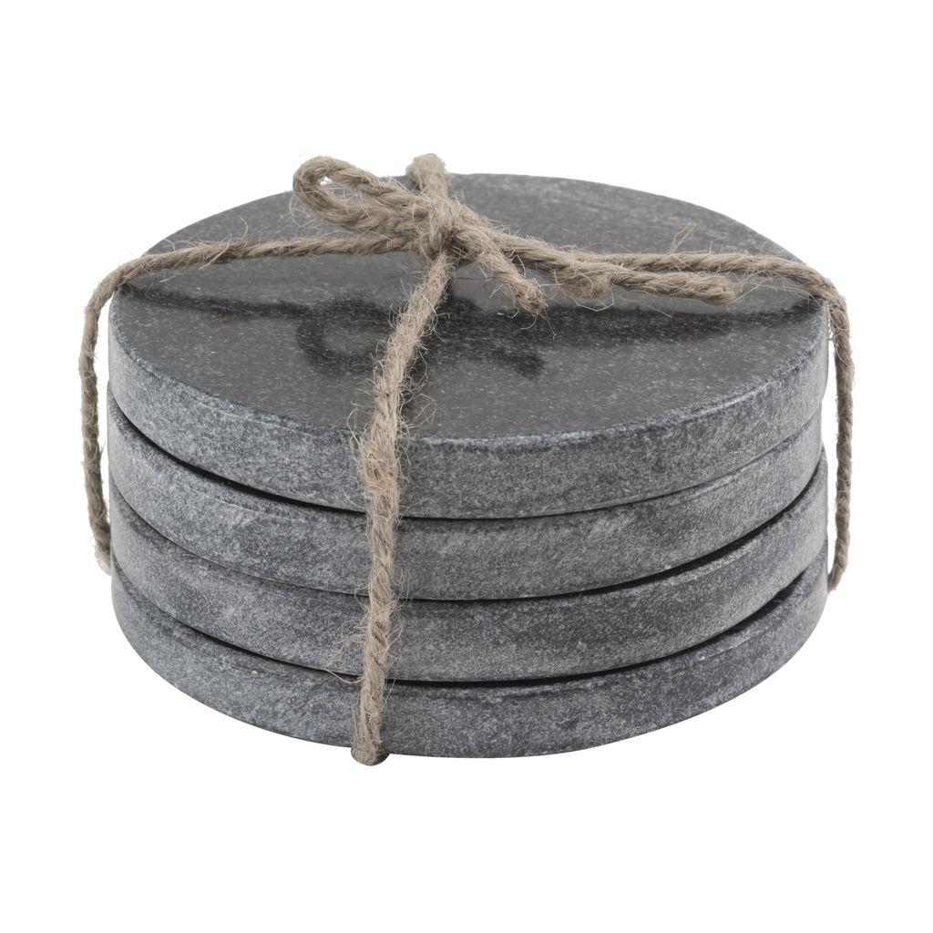 Set of 4 Marble Round Coasters - Black