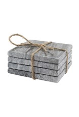 Set of 4 Marble Square Coasters - Black