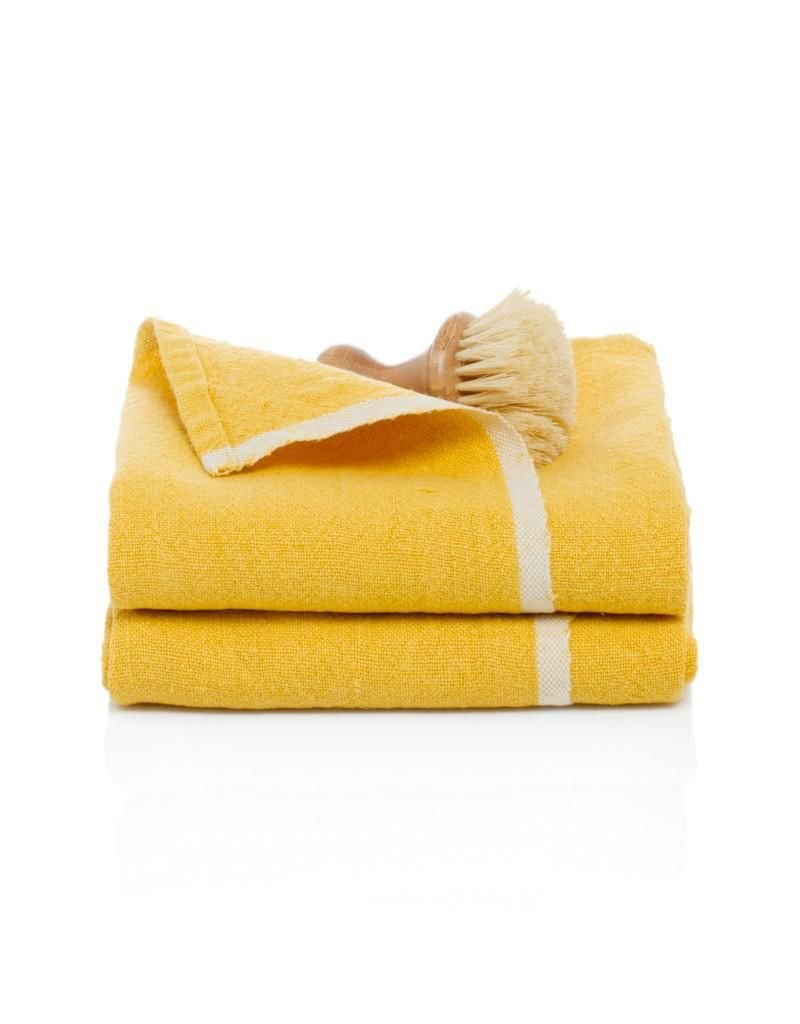 "Couleur Nature Chunky Linen Mustard Hand Towel, 20""x30"""