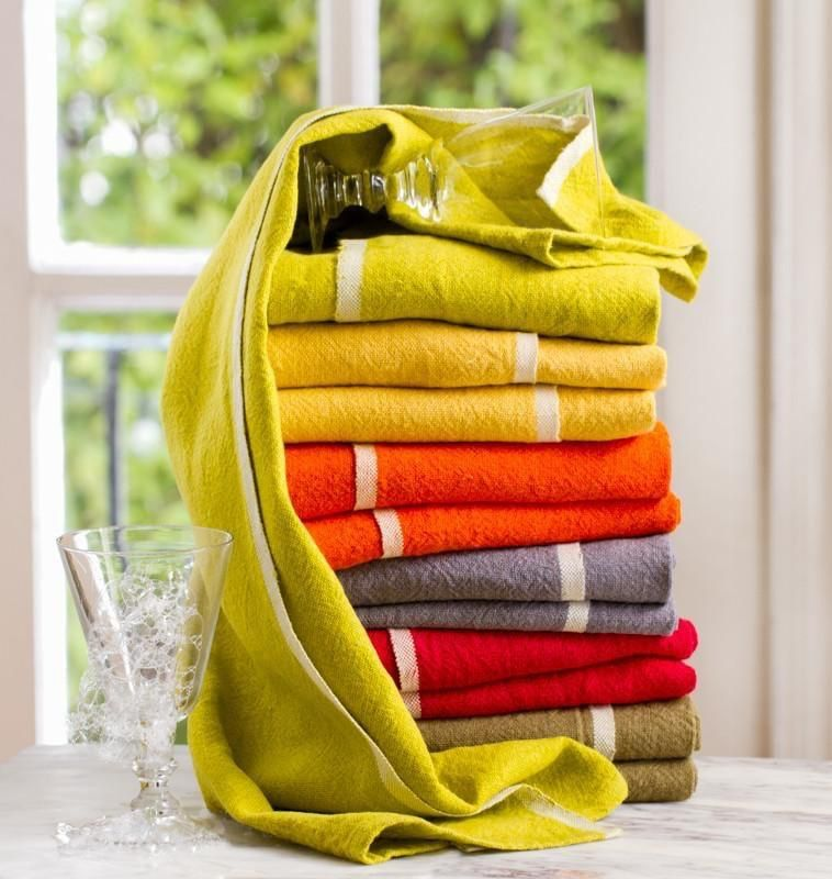 "Chunky Linen Mustard Hand Towel, 20""x30"""