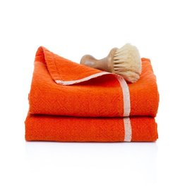 "Couleur Nature Chunky Linen Orange Hand Towel, 20""x30"""