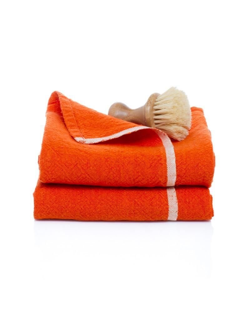 "Couleur Nature Chunky Linen Orange Hand Towel, 20""x30"""