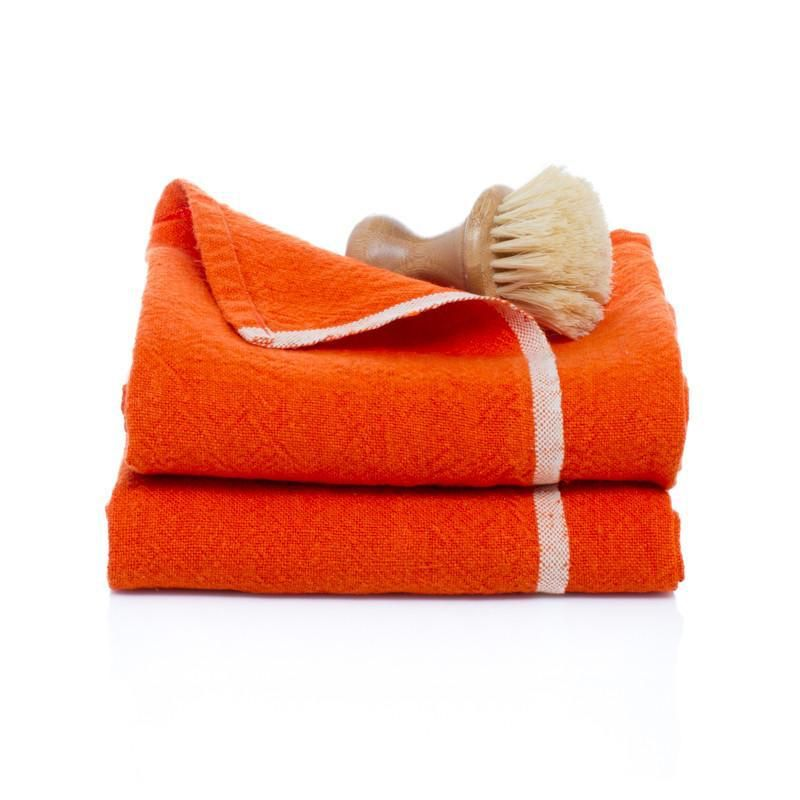 "Chunky Linen Orange Hand Towel, 20""x30"""