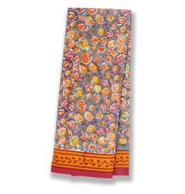 Autumn Bouquet Tea Towel Orange & Grey