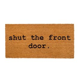 "Couleur Nature Coir Floor Mat - ""shut the front door."""