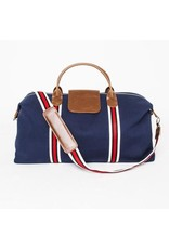 Brouk Original Duffel Bag, Navy Blue with Red/Black/White Strap