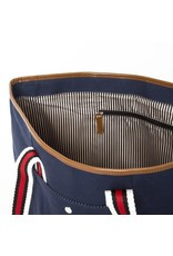 Brouk The Natural Shopper Tote Bag, Navy Blue with Red/Black/White Strap