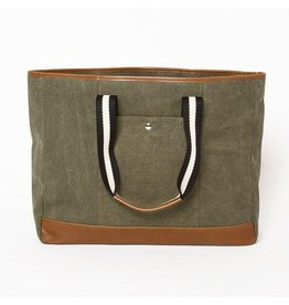 The Natural Shopper Tote Bag, Military Green with Black/White Strap