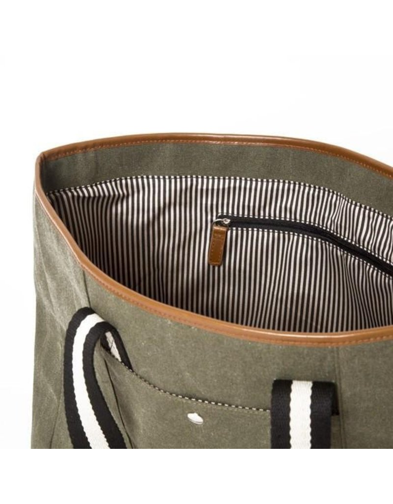 Brouk The Natural Shopper Tote Bag, Military Green with Black/White Strap