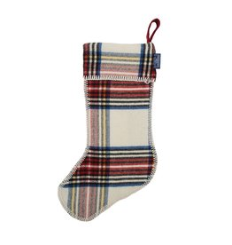 Faribault Woolen Mill Co. STEWART PLAID STOCKING, WHITE