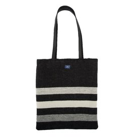 Faribault Woolen Mill Co. REVIVAL STRIPE UNSTRUCTURED TOTE, BLACK