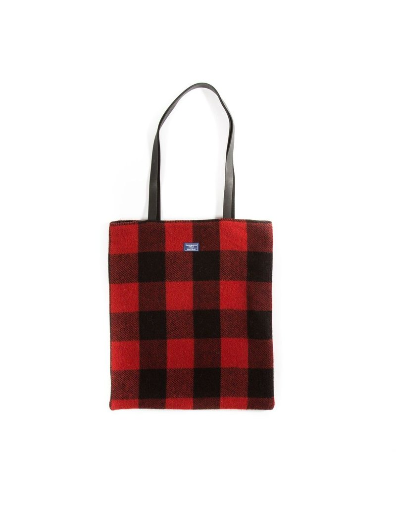 Faribault Woolen Mill Co. BUFFALO CHECK UNSTRUCTURED TOTE, RED